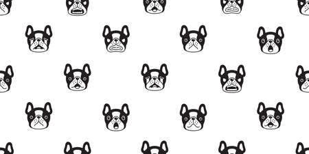 dog seamless pattern french bulldog emotions vector breed paw footprint cartoon repeat wallpaper tile background scarf isolated illustration doodle design