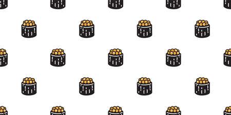 Sushi seamless pattern Tamakoyaki onigiri maki vector japanese food tile background doodle scarf isolated illustration cartoon repeat wallpaper design