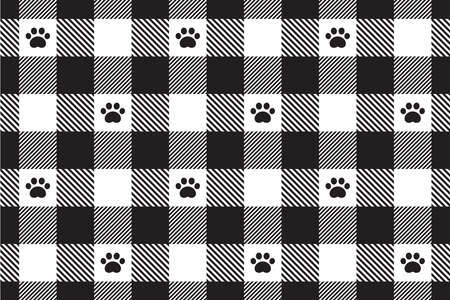 dog paw seamless pattern footprint cat checked tartan plaid french bulldog vector cartoon repeat wallpaper tile background doodle scarf isolated illustration design 向量圖像