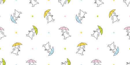 dog seamless pattern french bulldog umbrella raining vector footprint paw cartoon repeat wallpaper tile background scarf isolated illustration doodle color design