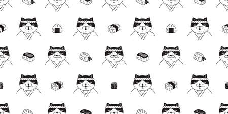 cat seamless pattern sushi japan food chef kitten calico vector pet scarf isolated cartoon animal tile wallpaper repeat background illustration doodle design