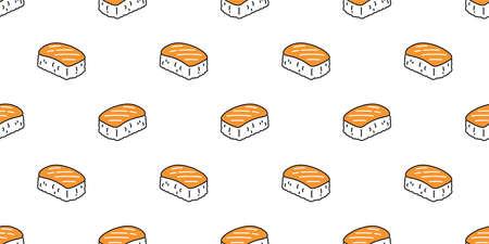Sushi seamless pattern salmon onigiri vector japanese food tile background doodle scarf isolated illustration cartoon repeat wallpaper design