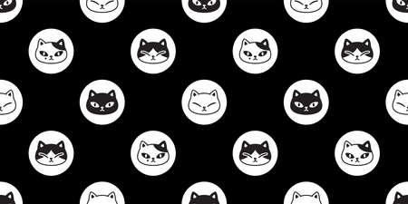 cat seamless pattern kitten head calico vector polka dot pet scarf isolated cartoon animal tile wallpaper repeat background illustration doodle design 向量圖像