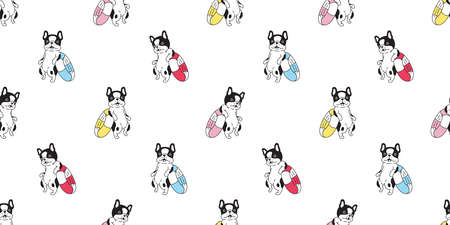 dog seamless pattern french bulldog vector swimming pool ring cartoon tile background beach ocean summer repeat wallpaper doodle scarf isolated illustration design 向量圖像