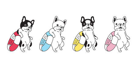 dog vector french bulldog icon swimming ring pool ocean puppy pet paw cartoon character beach summer symbol scarf doodle illustration design 向量圖像