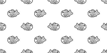 fish Taiyaki Seamless pattern bakery food japan snack vector tuna shark salmon dolphin doodle icon cartoon ocean sea tile background repeat wallpaper scarf isolated pet animal illustration doodle desi