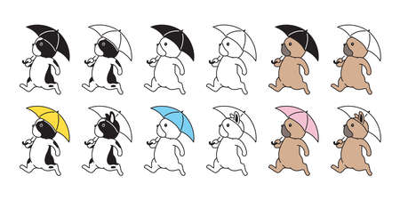 dog vector french bulldog icon umbrella raining puppy pet breed paw character cartoon symbol scarf doodle illustration design 向量圖像