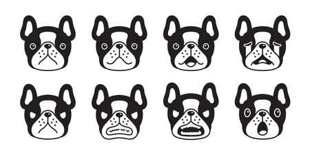 dog vector french bulldog icon puppy pet emotions breed logo character cartoon symbol scarf doodle illustration design