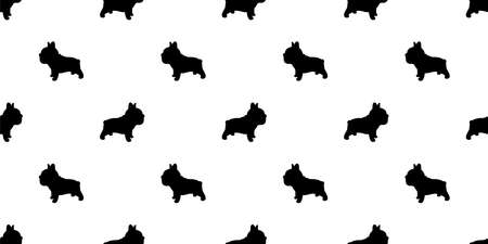 dog seamless pattern french bulldog vector footprint paw cartoon repeat wallpaper tile background scarf isolated illustration doodle silhouette design 向量圖像