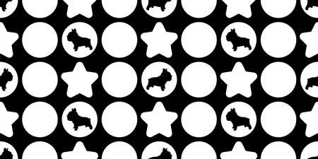 dog seamless pattern french bulldog vector polka dot star footprint paw cartoon repeat wallpaper tile background scarf isolated illustration doodle silhouette design
