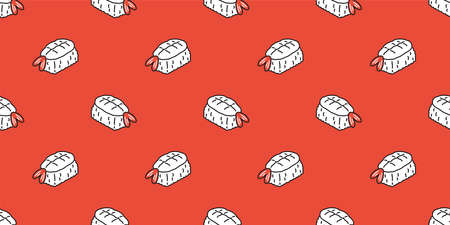 Sushi seamless pattern onigiri vector japanese food tile background doodle scarf isolated illustration cartoon repeat wallpaper design