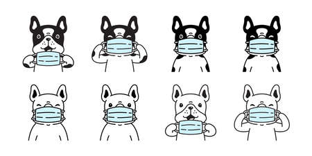 dog vector french bulldog icon covid 19 face mask puppy pet breed paw character cartoon symbol scarf illustration doodle design