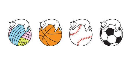cat vector basketball kitten sleeping calico icon logo yarn ball soccer football baseball pet sport cartoon character sport doodle symbol illustration design
