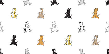 cat seamless pattern kitten calico vector pet running walking scarf isolated repeat background cartoon animal tile wallpaper illustration doodle design 向量圖像