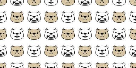 Bear seamless pattern polar bear face head vector emotions cartoon doodle tile wallpaper repeat background illustration design