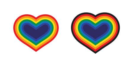 heart vector valentine rainbow Pride icon LGBT cartoon symbol logo character illustration design