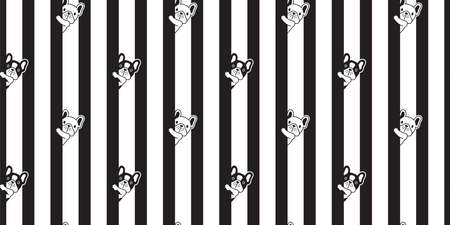 dog seamless pattern french bulldog vector striped footprint paw cartoon repeat wallpaper tile background scarf isolated illustration doodle design