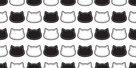 cat seamless pattern kitten head dash line calico vector pet scarf isolated cartoon animal tile wallpaper repeat background illustration doodle white black design 向量圖像
