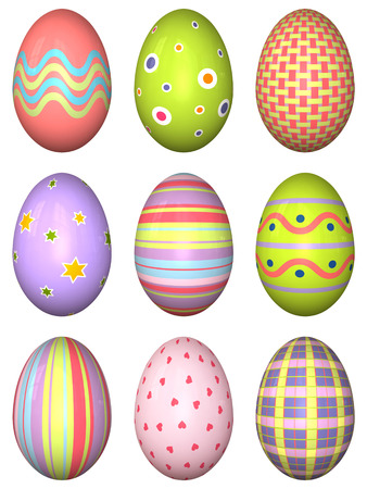 the third dimension: 3D Easter eggs mapped with different decorations