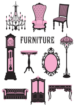 A two-tone silhouette of furniture Vector