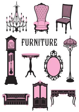 Een two-tone silhouet van meubilair
