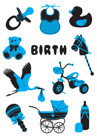 A two-tone silhouette of babies stuff