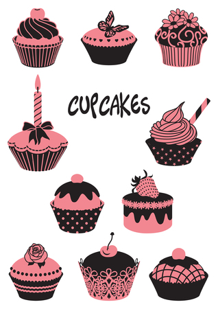 A two-tone silhouette of cupcakes Illustration