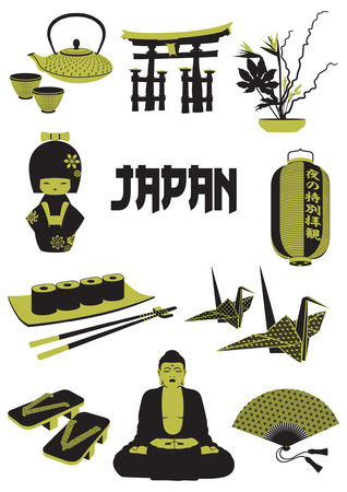 A two-tone silhouette of Japanese objects Vector