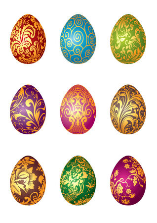 solemnity: Vector illustration of  decorated Easter eggs Illustration