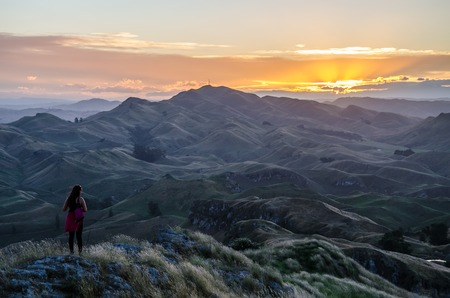 Sunset view from Te Mata Peak near Hastings in Hawkes Bay on North Island, New Zealand.