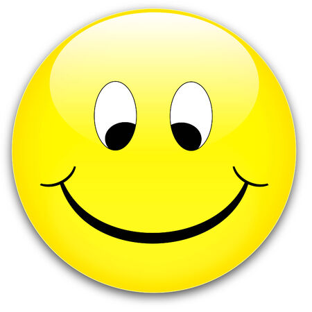 friendliness: A happy, shy yellow smile button, ruddy - rednder from a vector