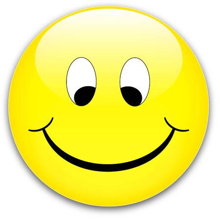 Ein gelbes glücklich, schüchtern smile Schaltfläche, Blutrote - Rednder von einem Vektor