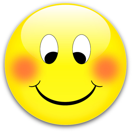 A happy, shy yellow smile button, ruddy - rednder from a vector Vector