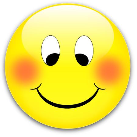 amabilidad: Un feliz, t�mida sonrisa bot�n amarillo, rojo - rednder de un vector de
