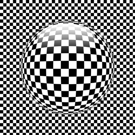 3d shiny sphere on chequered pattern  photo