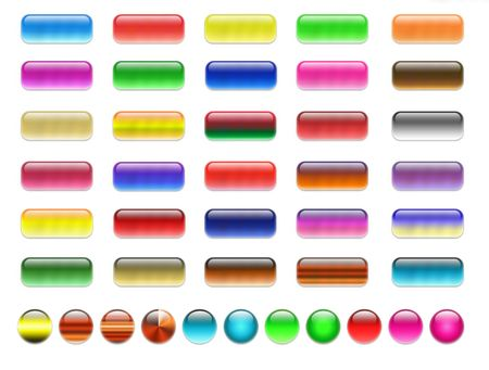 aquabutton: Set of colorful, gell and glass web buttons