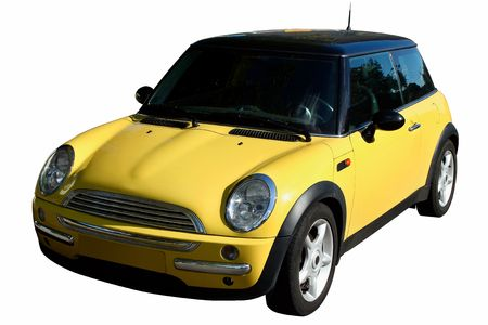 luxuriance: Small yellow car isolated on white backrground Stock Photo