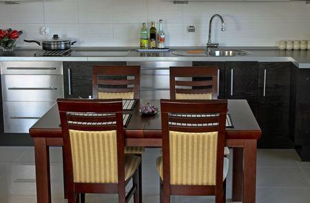 Interesting modern kitchen silver black  photo