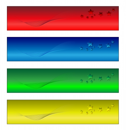 Four banners multi-coloured clear render from a vector photo