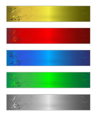 Five banners multi-coloured clear render from a vector photo