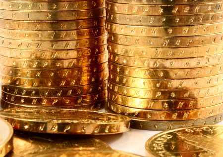 Gold coins in a stacks closeup. Stock Photo - 5924065