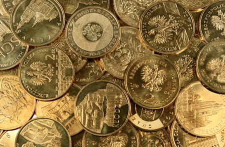 Many differrent gold coins as background Stock Photo - 5924073