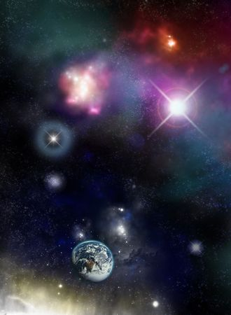 Beautiful starfield and nebulas with glowing stars and an Earth planet - fictional space/scifi scene.