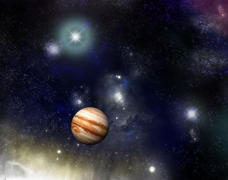 jupiter: Beautiful starfield and nebulas with glowing stars and a jupiter - fictional spacescifi scene.