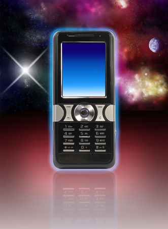 Silver- black cell phone with blue screen isolated on red background with stars and nebula photo