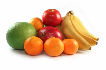 Fresh colorful fruits composition isolated on white photo