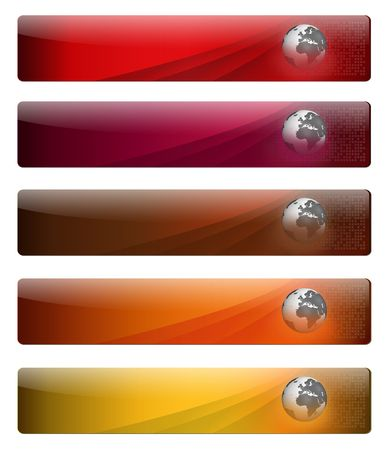 Five, jelly and glossy banners with earth globe, for your website. photo