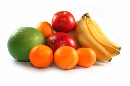 Fresh colorful fruits composition isolated on white Stock Photo - 5997352