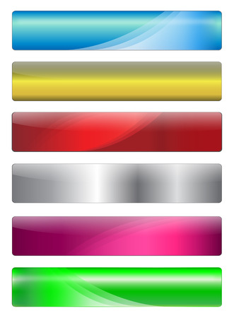 Six, metallic, gel and shiny banners with warm colours for your website, vector. Stock Vector - 5997387