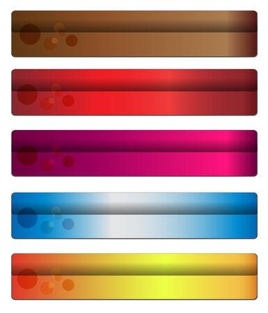 web header: Cinco banners con colores c�lidos para su sitio Web, vector.